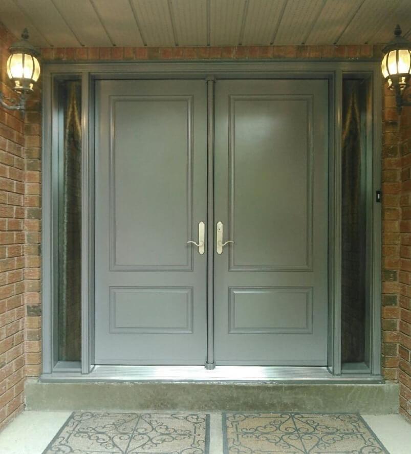 Fiberglass 1 panel 3qtr lite solid light grey double s10 for 10 panel glass door