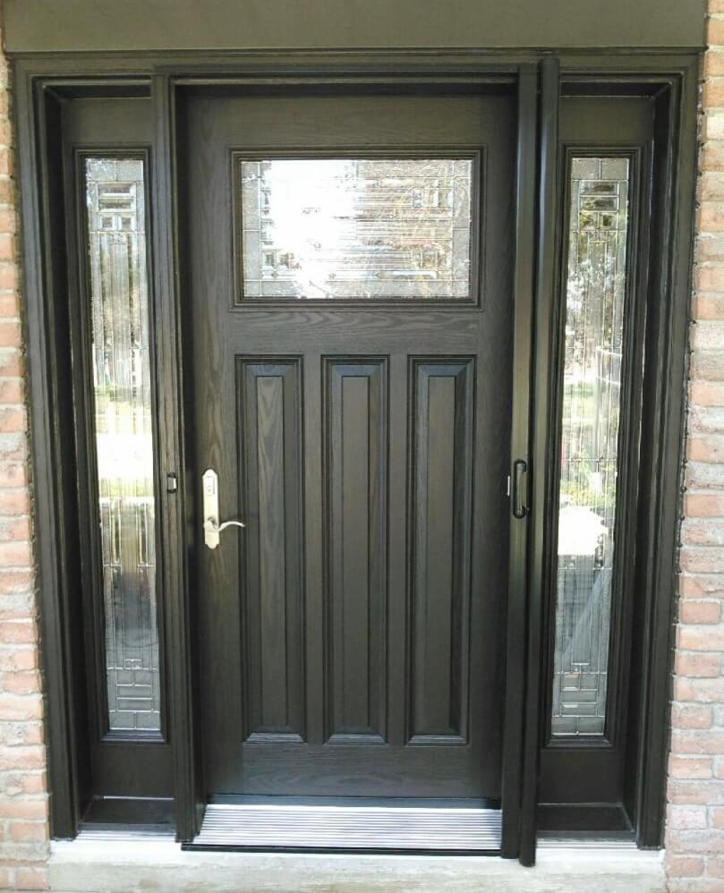 Fiberglass walnut wood front door kempenfelt windows doors for Front door with 6 windows