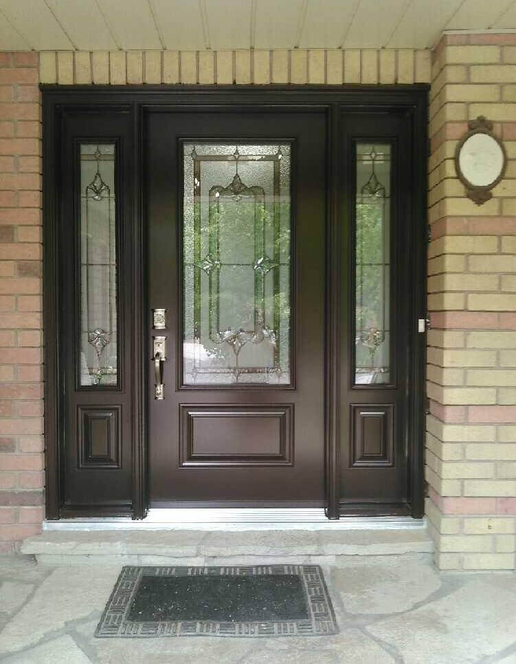 Steel 1 panel 3qtr lite primrose glass commercial brown - Commercial steel exterior doors with glass ...