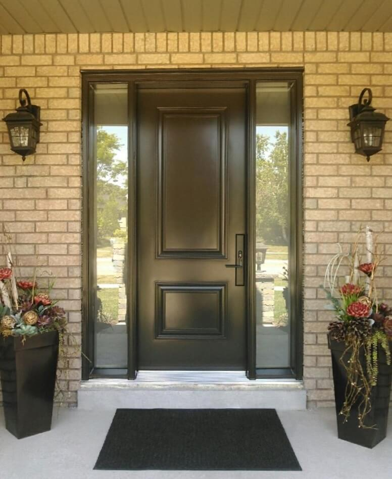 Steel 1 panel 3qtr lite solid commercial brown double s10 - Commercial steel exterior doors with glass ...