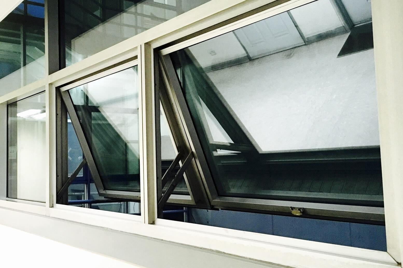 an awning window that is open slightly